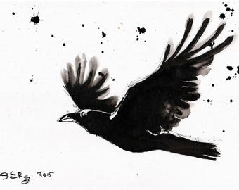 Raven Art - 8x12in Ink painting on canvas A4 20x30cm - Raven flight black white splatter
