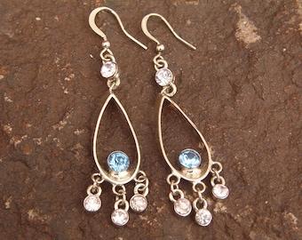Chandelier Earrings, Rhinestone Earrings, Blue Earrings, Crystal Drop Earrings, Pierced Earrings, Dangle Earrings, CZ Earrings