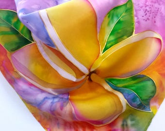 Plumeria Silk Scarf, Hand Painted Original Silk Scarves, Kauai Hawaii Hawaiian, frangipani scarf, Wearable Silk Painting, Birthday Gifts