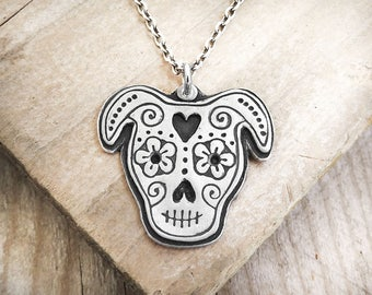 Pit Bull Day of the Dead necklace, sterling silver Día de los Muertos sugar skull jewelry, dog sugar skull, memento mori, Pit Bull necklace