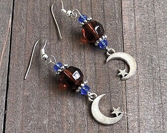 ON SALE Silver Moon & Star Earrings Crescent Moons Carmel Colored Glass and Blue Crystal Beads Sterling Silver Earwires