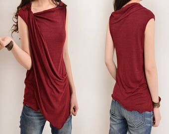 Free Shipping SALE WINE size L - My Zen 2 - draping tank top (Y3112)