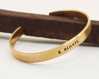 Men's Bronze Anniversary Bracelet, Bronze Cuff, Personalized Cuff, 8 Year Anniversary Gift, & Always Bracelet, Men's Bronze Cuff