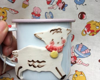 Enamelware Mug, Childrens Enamelware Cup, Pink and white Cup with Lamb, Childs birthday Gift