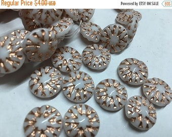 ON SALE 10 White Czech Pressed Glass Dahlia Flower Beads with Copper Finish 14mm
