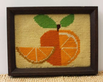 Citrus. Vintage 1970s fruit needlepoint picture.
