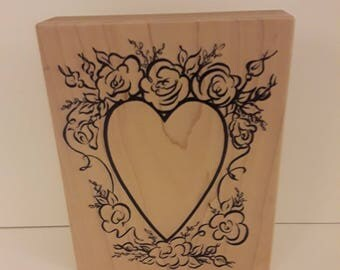Rubber Stamp by PSX 1997 Heart Surrounded by Roses