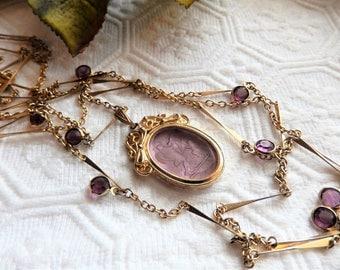 Vintage Signed Goldette Gold & Amethyst Intaglio Glass Cameo Crystal Multi Strand Necklace