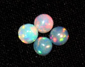 4 Pcs 3x3mm AAA Natural Multi Color Play Ethiopian Welo Fire Opal Smooth Round Cabochon , Loose Gemstone Cop784
