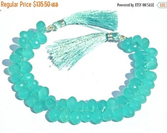 50% Off Sale Full 8.5 Inches Aqua Green Chalcedony Faceted Drop Briolettes Size 9x5mm - 10x6mm approx Gemstone Briolette Semiprecious Beads
