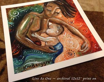 Live As One - bi-racial mother and child breastfeeding archival signed motherhood print