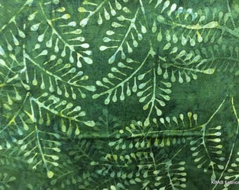 Green Leaf Batik Fabric Green Fern Fabric By the Yard Hand Dyed Fabric Apparel Quilting 100% Cotton Fabric t7/9