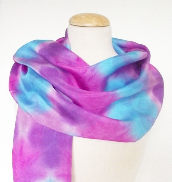 "Hand Dyed & Block Printed Silk Scarf - Turquoise, Magenta, Purple, Mauve - 15x72"""