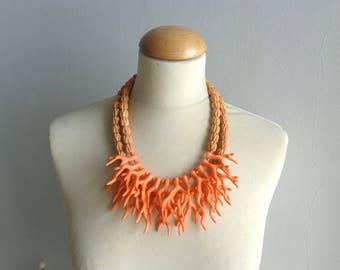 Orange necklace, orange coral branch necklace, coral branch statement