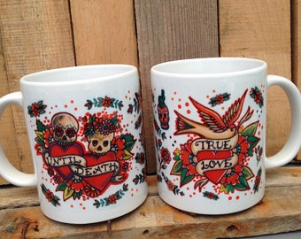 Until Death & True Love 2 Mug Set - Wedding Gift - Customisable - Tattoo Flash