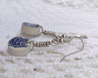 Broken China Jewelry - Blue Willow Earrings