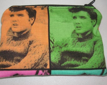 Elvis handmade fabric coin change purse zipper pouch