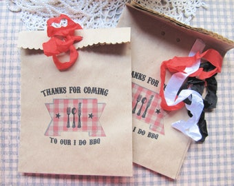 I Do Barbecue Shower Favor Bags w/Ribbons - Set of 10 - Thank You Kraft Favor Bag Backyard Wedding Barbecue I Do BBQ