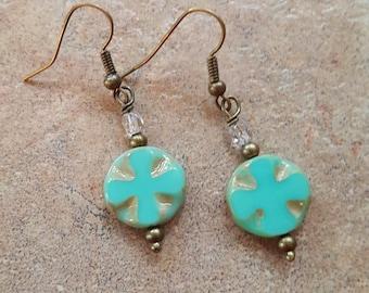 Turquoise green glass cross earrings handmade