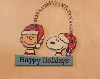 Charlie Brown and Snoopy Christmas Ornament - Personalized