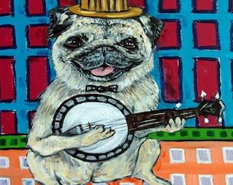 20 % off storewide pug TILE - ceramic coaster -banjo - pug art - print on tile - modern dog art - folk art -dog art - dog print - dog