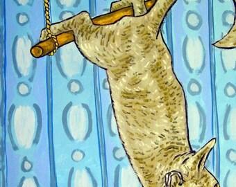20 % off storewide Gray Cat on a Trapeze  Art Print  JSCHMETZ modern abstract folk pop art gift