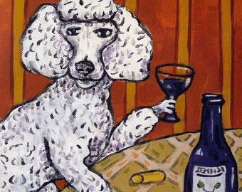 20% off Poodle,poodle art. TILE, coaster, wine, wine art, dog, dog art, poodle tile, poodle coaster, gift, modern, folk