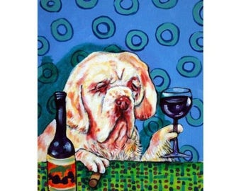 20% off Clumber Spaniel at the Wine Bar Dog Art Print