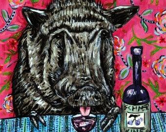 20% off pig wine animal art tile coaster  JSCHMETZ modern abstract folk pop art AMERICAN ART gift