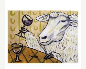 20% off Sheep at the Wine Bar Art Print