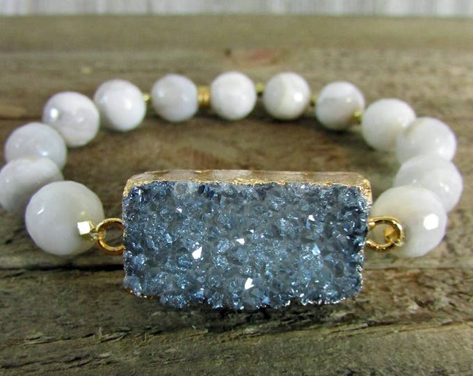 Druzy Focal Stretch Bracelet, Druzy Jewelry, Gemstone Bracelet