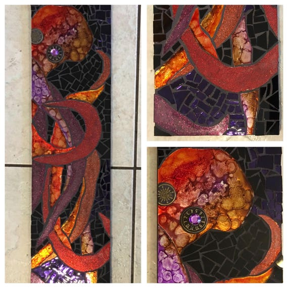 """6"""" X 24"""" Octopus Hand painted and Stained Glass Mosaic mixed media Steampunk great gift"""