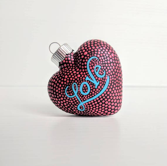 Love: hand painted glass heart ornament red hand painted glass heart valentine hearts