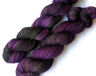 Sock Yarn Hand Dyed Tight Twist Merino Cashmere Nylon Fingering - Purple Heartwood, 400 yards