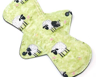 11 inch HEAVY flow Reusable Cloth Menstrual pad -bamboo core - waterproof PUL - quilter's cotton top in Sheep in Pasture