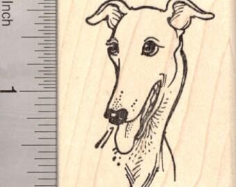 Smiling Greyhound Rubber Stamp H8008 Wood Mounted