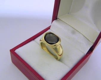 AAAA Black Star Sapphire 2.75 carats  10.35x8.2mm in 14K Yellow gold bezel set ring.  251