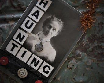 Haunting Minerva - Creepy Vintage Inspired Halloween Collage, Door Hanger