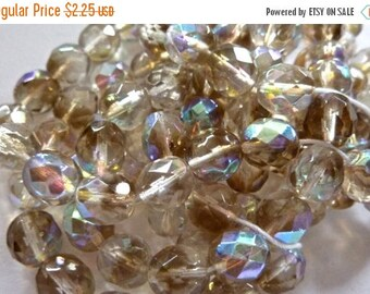 On Sale Czech Crystal and Smoke AB Faceted Round 6mm Glass Beads (68)