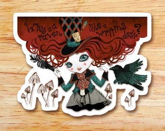 Mad Riddle Die Cut Vinyl Sticker Decal, Alice in Wonderland, Mad Hatter Sticker