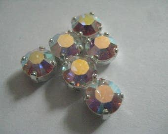Lot of 6 6mm Crystal AB Article 1100 Chatons Swarovski Rhinestones in Silver Plated Settings