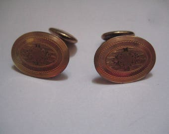 Antique Victorian Style Cufflinks with Gold Plated Metal with Etched Design HAYWARD