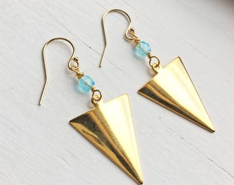 Gold & Blue Arrowhead Earrings