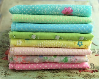 Vintage Flocked Fabric Bundle - Pastel Baby Doll Clothes Hair Bows -  Dotted Swiss Sewing Fabric Quilting