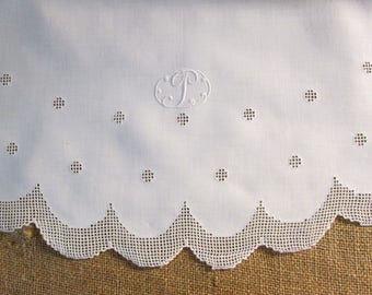 Antique Tablecloth P Monogram Vintage Irish Linen Lace Initial Personalized White Oval Table Linens Dining Table Cloth