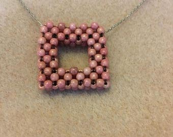 Pink Picture Frame Necklace