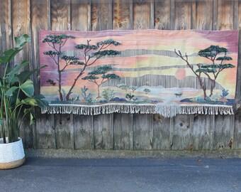 Gorgeous XL Large Boho Textile Art Wall Hanging Weaving Sunset Trees