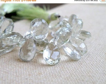 Deep Discount Sale Outstanding Green Amethyst Prasiolite Gemstone Briolette Faceted TearDrop Pear 13 to 14mm 11 beads