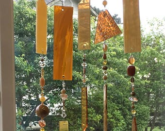 Glass Wind Chime, Stained Glass Wind Chimes, Glass Windchimes, Stained Glass Mobile, Yellow Glass, Beaded Sun Catcher, Window, 8669