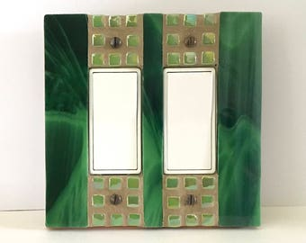 Green Switch Plate, Stained Glass Switchplate, Double Decora, Decorative Light Switch Cover, Dimmer Cover Plate, GFI GFCI Outlet Cover, 8862